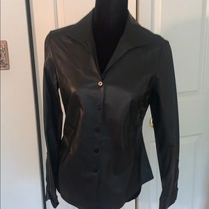 Lafayette 148 NY Black Leather button up s…
